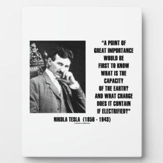 Nikola Tesla Capacity Of Earth Charge Electrified Plaque