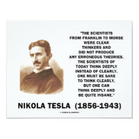 Nikola Tesla Clear Thinkers Sane To Think Clearly 4.25x5.5 Paper Invitation Card