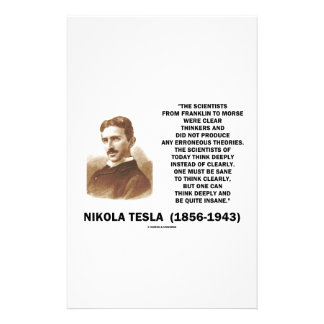 Nikola Tesla Clear Thinkers Sane To Think Clearly Stationery Paper