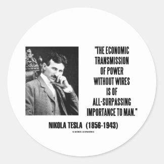 Nikola Tesla Economic Transmission Power Without Classic Round Sticker