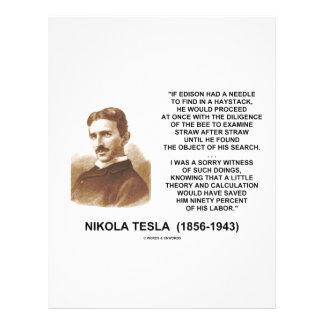 """Nikola Tesla Edison Needle Haystack Theory Quote 8.5"""" X 11"""" Flyer"""