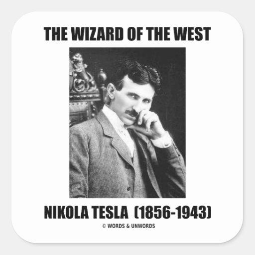 Nikola Tesla el mago del oeste Pegatina Cuadrada