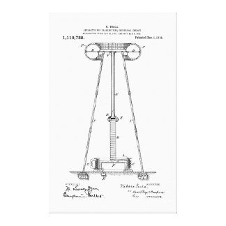 Nikola Tesla Energy Transmission Pantent US1119732 Canvas Print