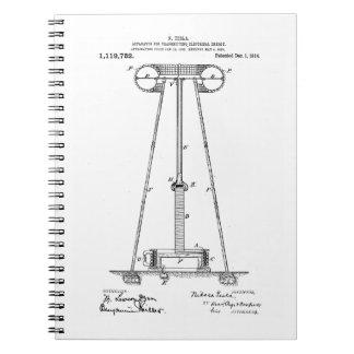 Nikola Tesla Energy Transmission Pantent US1119732 Spiral Notebook