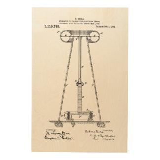 Nikola Tesla Energy Transmission Pantent US1119732 Wood Wall Decor