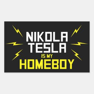 Nikola Tesla es mi Homeboy Rectangular Pegatina