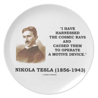 Nikola Tesla Harnessed Cosmic Rays Motive Device Dinner Plate