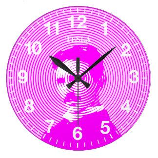 Nikola Tesla in Magenta Large Clock