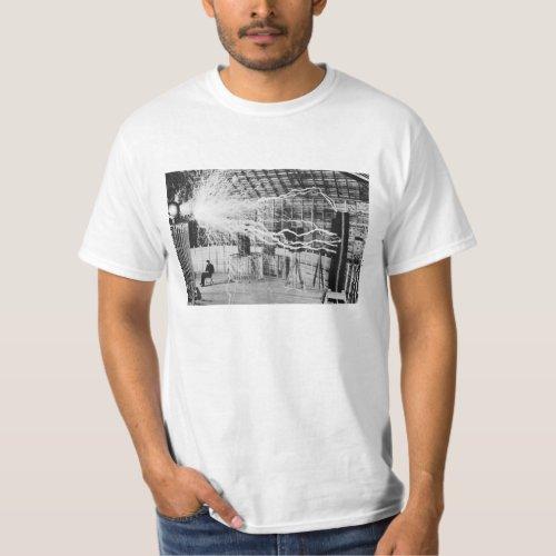 Nikola Tesla Laboratory Electricity Picture T_Shirt