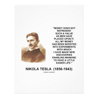 "Nikola Tesla Money Value Discoveries Easier Life 8.5"" X 11"" Flyer"
