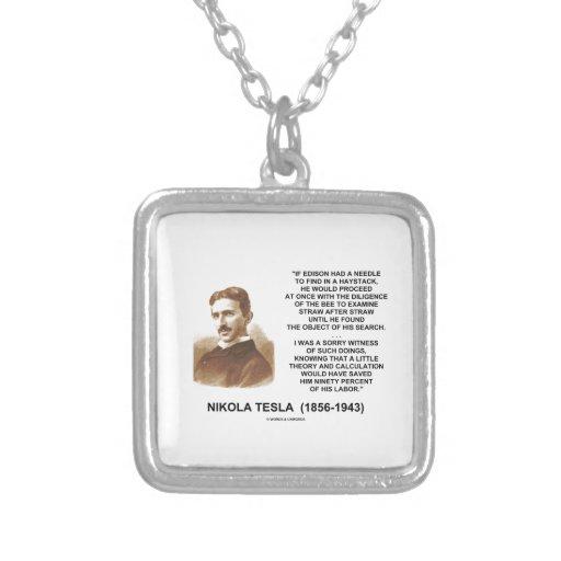 Nikola Tesla Needle In Haystack Theory Calculation Square Pendant Necklace
