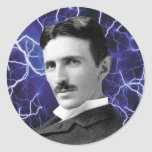 Nikola Tesla Pegatina Redonda