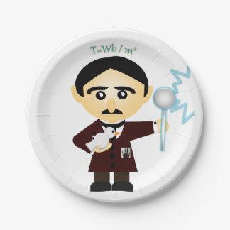 Nikola Tesla Plato De Papel De 7 Pulgadas