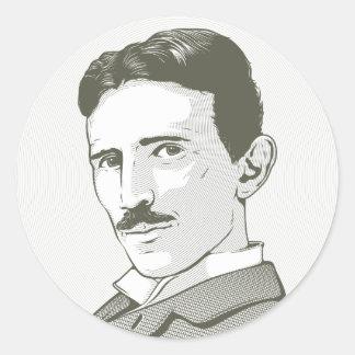 Nikola Tesla Portrait Classic Round Sticker
