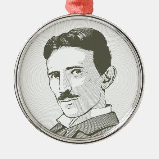 Nikola Tesla Portrait Round Metal Christmas Ornament