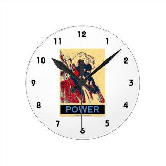 Nikola Tesla Power (Obama-Like Poster) Round Clock