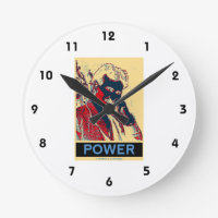 Nikola Tesla Power (Obama-Like Poster) Round Wallclock