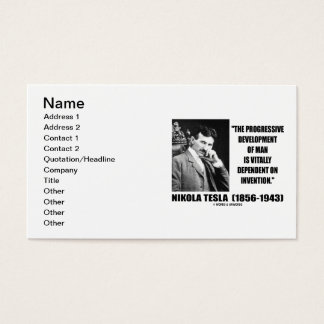 Nikola Tesla Progressive Development Man Invention Business Card