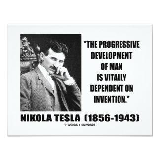 Nikola Tesla Progressive Development Of Man Quote 4.25x5.5 Paper Invitation Card