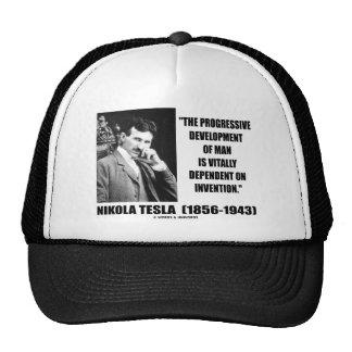 Nikola Tesla Progressive Development Of Man Quote Trucker Hats