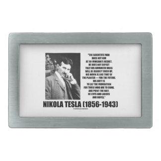 Nikola Tesla Scientific Man Does Not Aim Immediate Rectangular Belt Buckle