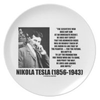 Nikola Tesla Scientific Man Does Not Aim Immediate Party Plate
