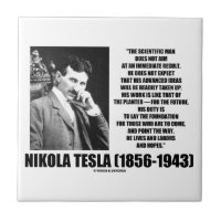 Nikola Tesla Scientific Man Does Not Aim Immediate Small Square Tile