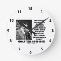 Nikola Tesla Scientists Equation No Relation Quote Round Clock