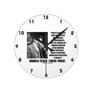 Nikola Tesla Scientists Equation No Relation Quote Round Clock