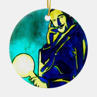 Nikola Tesla - Think Green Christmas Tree Ornaments