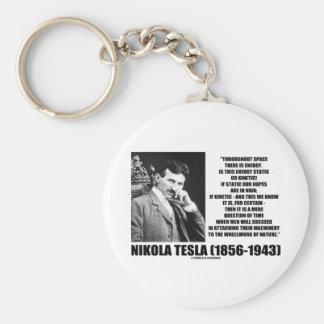 Nikola Tesla Wheelwork de la energía cinética de Llavero Redondo Tipo Chapa