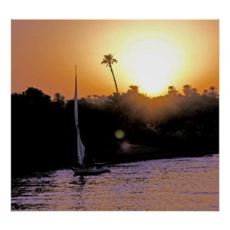 Nile and Felucca at Sunset (1) Poster