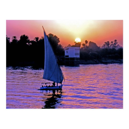 Nile and Felucca at Sunset (2) Postcard