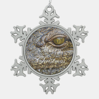 Nile crocodile from Africa Snowflake Pewter Christmas Ornament