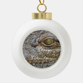 Nile crocodile from Africa Ceramic Ball Christmas Ornament