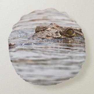 Nile Crocodile Round Pillow