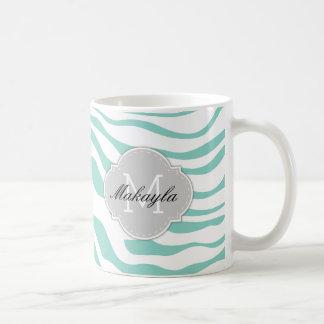 Nile Green & White Zebra Stripes with monogram Coffee Mug