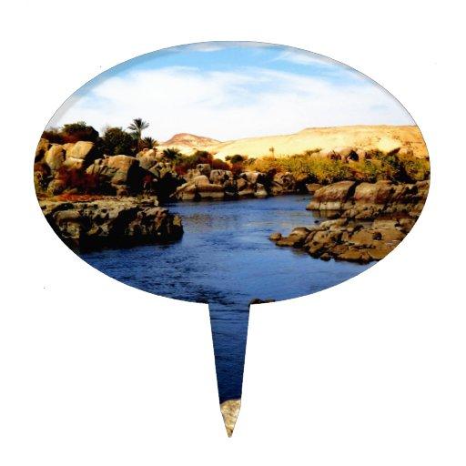Nile River in Aswan river - Sahara Desert Cake Toppers
