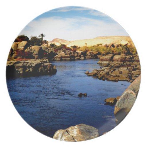Nile River in Aswan river - Sahara Desert Plate