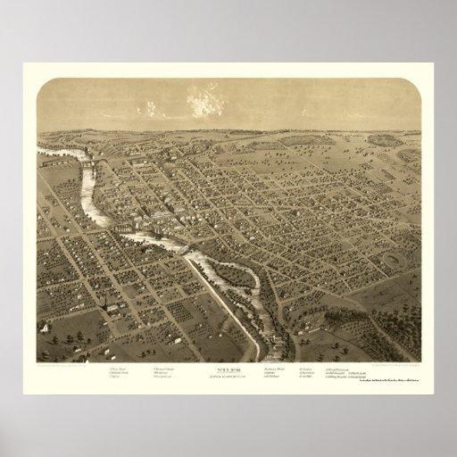 Niles, mapa panorámico del MI - 1868 Póster