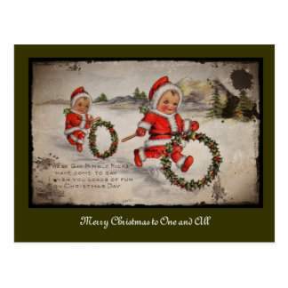 Nimbly Nicks with Holly Wreaths Postcard