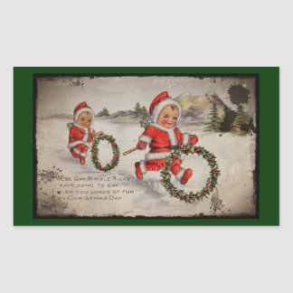 Nimbly Nicks with Holly Wreaths Rectangular Sticker
