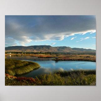 Nimez Lagoon at golden hour Poster
