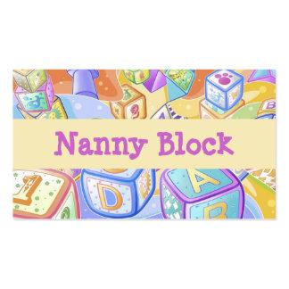 Nin@era del cuidado de día del niño de la niñera tarjetas de visita