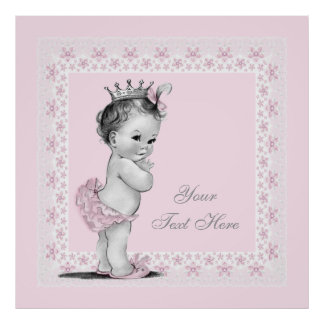 Niña adorable de princesa Pink Vintage Impresiones