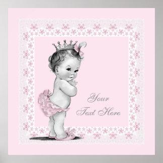 Niña adorable de princesa Pink Vintage Póster