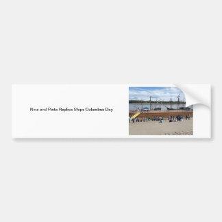 nina and pinta replica ships columbus day nautical bumper sticker
