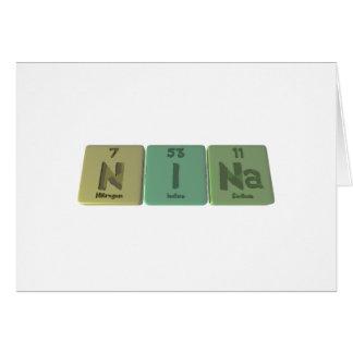 Nina  as Nitrogen Iodine Sodium Greeting Card