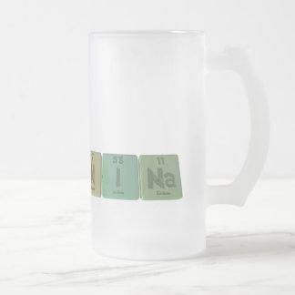 Nina  as Nitrogen Iodine Sodium Frosted Glass Beer Mug