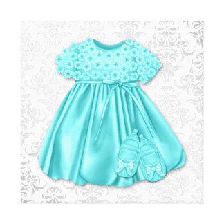 Niña azul del vestido del trullo de plata del dama lienzo envuelto para galerías